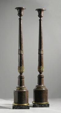 An Important Pair of Empire Gris Poli Gilt Bronze Mounted Columns  Fabry & Utzschneider, Sarreguemines, France Circa...