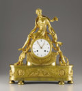 Decorative Arts, French:Other , A French Empire Gilt Bronze Clock. Attributed to Claude Galle,Paris, France. Circa 1810. Gilt bronze, enamel. Unmarked. 2...