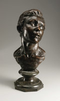 Fine Art - Sculpture, European:Modern (1900 - 1949), A French Bronze Bust Of A Young Man. Jules Dalou (French, 1838-1902). c. 1888. Bronze with reddish patina, green marble. M...