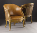 Furniture: French, A Pair of Transitional Louis XV/Louis XVI Style Fauteuils deBureau. Unknown maker, Paris, France. Circa 1830-40. Wove...(Total: 2 Items)