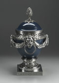 "Furniture: French, A Louis XVI Style Blue Porcelain and Silvered Bronze ""Vase-Cloche"".The porcelain Chinese, the mounts possibly French. Tw..."