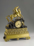 Furniture, A French Bronze Mantle Clock. Unknown maker, France. Circa 1830. Patinated and gilt bronze. Movement signed Robert A Par...