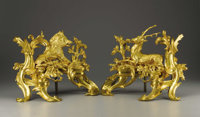 A Pair of Louis XV Style Gilt Bronze Chenets  After a model by Quentin-Claude Pitoin (circa 1725-1777), Paris, France Ea...