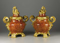 Decorative Arts, French:Other , An Important Pair of French Rococo Style Gilt Bronze Mounted JasperVases. Attributed to Jean Beaurdeley, Paris, France. E... (Total: 4Items)