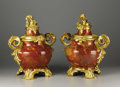Decorative Arts, French:Other , Another Important Pair of French Rococo Style Gilt Bronze MountedJasper Vases. Attributed to Jean Beaurdeley, Paris, Fran... (Total:4 Items)