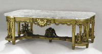 A Monumental French Louis XVI Style Giltwood and Marble Center Table  Paul Sormani (1817-1871), Paris, France Late Ninet...