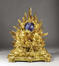 A Monumental French Gilt Bronze and Enamel Clock  Unknown maker, Paris, France Circa 1864 Gilt bronze and enamel Unmark...