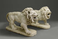 Fine Art - Sculpture, European:Antique (Pre 1900), A Pair Of Massive Continental White Marble Lions. Italian.Eighteenth Century. White Carrara marble. 38 in. x 60 in. (each...(Total: 2 Items)