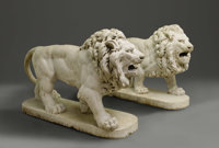 A Pair Of Massive Continental White Marble Lions  Italian Eighteenth Century White Carrara marble 38 in. x 60 in. (each...