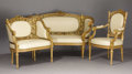 Furniture: French, A Suite of Napoleon III Giltwood Salon Furniture. Unknown maker,France. Circa 1850-70. Gilded wood, upholstery. Unmarked... (Total:5 Items)