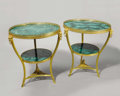 Furniture , A Pair of Empire Style Gilt Bronze and Malachite Gueridons. Unknown maker, France. Twentieth Century. Gilt bronze and mala... (Total: 2 Items Item)