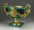 Decorative Arts, Continental:Other, A Monumental Continental Malachite And Gilt Bronze Centerpiece. Continental. Twentieth Century. Malachite and gilt bronze...
