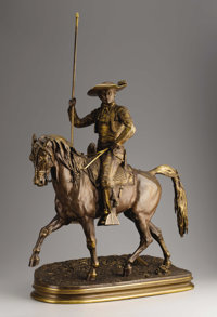 A French Bronze Of The Picador  Pierre Jules Mène (French, 1810-1879) 1876 Bronze with reddish gold patina Marks:...