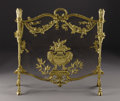 Decorative Arts, French:Other , A French Gilt Brass Firescreen. Unknown maker, France. Circa 1890.Gilt brass, wire mesh. Unmarked. 28 in. high x 30 in. w...