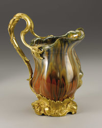 A French Gilt Bronze Mounted Porcelain Ewer  Designed by Agathon Leonard (French, 1841-1923) Porcelain manufactured by...