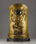 Decorative Arts, French:Other , A Gilt Bronze And Marble Clock. Ernest Barrias (French, 1841-1905).Nineteenth Century. Gilt bronze and marble. Marks: sig...
