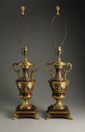 Decorative Arts, Continental:Lamps & Lighting, A Pair of Gilt Bronze Mounted Rouge Marble Lamps. Unknown maker,possibly France. Early Twentieth Century. Marble and gilt...(Total: 2 Items)
