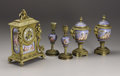 Decorative Arts, Continental:Other , A Five Piece French Garniture. French. Late Nineteenth / EarlyTwentieth Century. Gilt bronze, enameled porcelain. Marks: ...(Total: 7 Items)