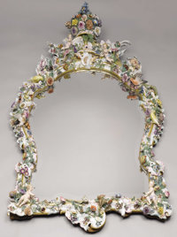 A Large German Porcelain Mirror  Dresden, Germany Late Nineteenth/Early Twentieth Century Porcelain with polychrome enam...