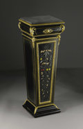 Furniture: French, A Napoleon III Ebonized and Pietre Dure Pedestal. Unkown maker,France. Circa 1860. Ebonized wood, pietre dure and gilt... (Total:4 Items)