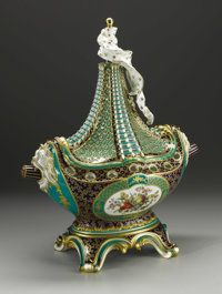 A Continental Porcelain Vaisseau a Mat  Unknown maker, Continental Nineteenth Century Porcelain with polychrome enam