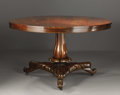 Furniture: English, A William IV Mahogany Tilt-top Breakfast Table. Unknown maker,England. Circa 1830-40. Mahogany veneer and solids. Unmarke...