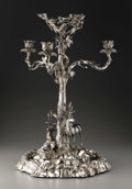Ceramics & Porcelain, An English Silver-plate Candelabra and Plateau . Elkington & Co., Birmingham, England. 1866. Silver-plate, mirrored glass... (Total: 2 Items Item)