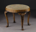 Furniture, A Queen Anne Style Walnut Stool. Unknown maker, England. Nineteenth Century. Walnut veneer and solids, tapestry upholstery...
