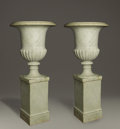 Paintings, A Large Pair Of Continental Marble Urns And Pedestals. Continental. Late Nineteenth/Early Twentieth Century. Marble. 54.5 ... (Total: 4 Items Item)