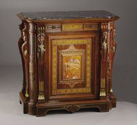 An American Renaissance Revival Style Cabinet  Gustave Herter (1830-1898), New York, New York Circa 1858-1864 Oak, rose...