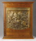Fine Art - Sculpture, American:Antique (Pre 1900), A Cast Iron Fireback In An Oak Frame: The Sun God. Designedby Elihu Vedder (American, 1836-1923). Mold by John G. ...