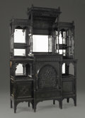 Furniture , An American Ebonized Aesthetic Style Cabinet. Attributed to Kimbell & Cabus, New York, New York. Circa 1875-80. Ebonized w...