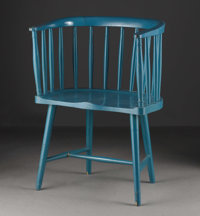 A Charles Rennie Mackintosh Argyle Street Dutch Kitchen Windsor Chair  Traces of original green color in places, molded...