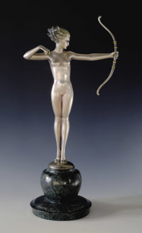 An Austrian Art Deco Silvered Bronze Figure: Diana  Josef Lorenzl (1892-1950), Austria Circa 1920-30 Silvered and c