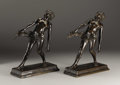 Fine Art - Sculpture, American:Modern (1900 - 1949), A Pair of American Bronze Bookends: Turbulent Youth. WaldineAmanda Tauch (American, 1892-1986). Cast by American A... (Total: 2Items)