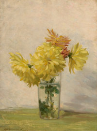 EDWARD HERBERT BARNARD (American, 1855-1909) Still Life with Bouquet of Yellow Flowers, 1887 Oil on