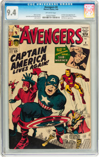 The Avengers #4 (Marvel, 1964) CGC NM 9.4 Off-white pages