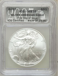 2007 $1 Silver Eagle First Day of Issue MS70 ICG. NGC Census: (4978). PCGS Population (348). Numismedia Wsl. Price for p...