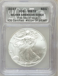 2007 $1 Silver Eagle MS70 ICG. First Day of issue ICG Certified #5024 of 14,987. NGC Census: (4978). PCGS Population (34...