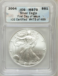 2004 $1 Silver Eagle MS70 ICG. First Day of Issue ICG Certified #473 of 489. NGC Census: (2022). PCGS Population (100)...