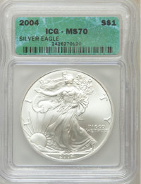 2004 $1 Silver Eagle MS70 ICG. NGC Census: (2022). PCGS Population (100). Numismedia Wsl. Price for problem free NGC/PCG...