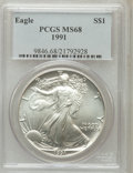 Modern Bullion Coins: , 1991 $1 Silver Eagle MS68 PCGS. PCGS Population (1181/5254). NGCCensus: (515/73921). Mintage: 7,191,066. Numismedia Wsl. P...