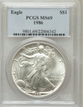 Modern Bullion Coins: , 1986 $1 Silver Eagle MS69 PCGS. PCGS Population (4951/3). NGCCensus: (90272/1111). Mintage: 5,393,005. Numismedia Wsl. Pri...