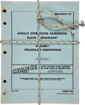 Transportation:Space Exploration, Apollo Operations Handbook Block II Spacecraft NASA Book,Bound with Vintage Apollo Reentry Parachute Cord....