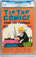 Golden Age (1938-1955):Miscellaneous, Tip Top Comics #7 (United Features Syndicate/Standard, 1936) CGC FN/VF 7.0 Off-white to white pages....