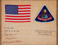 Transportation:Space Exploration, Apollo 8 Flown American Flag and Mission Insignia Patch Directlyfrom the Family Collection of Mission Support Crew Member Van...