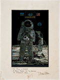 Transportation:Space Exploration, Buzz Aldrin Color Print Signed on Mat Originally from the Personal Collection of North American Aviation President William B. ...