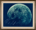 Transportation:Space Exploration, Apollo 8 Large Color Crew-Signed Moon Photo Originally from thePersonal Collection of North American Aviation President W...
