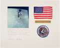 Transportation:Space Exploration, Apollo 15 Flown American Flag on Crew-Signed Mat Originally fromthe Personal Collection of North American Aviation Presid...