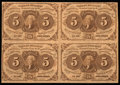 Fractional Currency:First Issue, Fr. 1230 5¢ First Issue Block of Four Very Fine.. ...